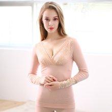 俞兆林秋冬新款女士美體內衣 蕾絲大V領性感花邊純色保暖套裝  YZL720052