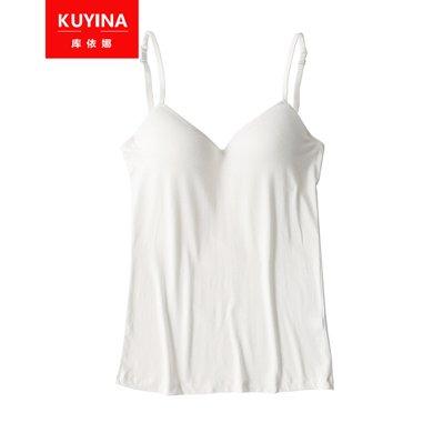 庫依娜 吊帶背心舒適無痕睡眠吊帶女士背心一片式隱形胸托無鋼圈打底內衣 NZA220