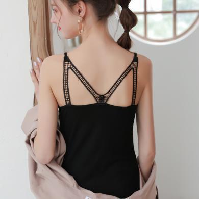 夏季瘦版新款女式蕾絲M美背吊帶背心性感小吊帶基礎打底衫 KYNB352