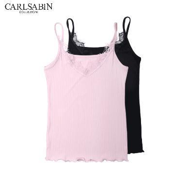 卡斯賓(兩件裝)新款夏季女士螺紋隨心裁背心百搭蕾絲吊帶背心