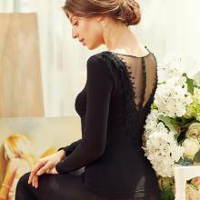 俞兆林保暖內衣女士蕾絲V領 后背刺繡美體套裝 塑身秋衣 YZL720022-8325-1810