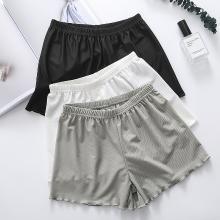 修允菲2019新款冰丝格纹安全裤女夏季薄款高腰弹力修身加大码加肥外穿打底裤NKZ003