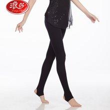 浪莎襪子女士480D豎條紋單加檔踩腳襪 防勾絲打底黑色褲襪子ZY7002