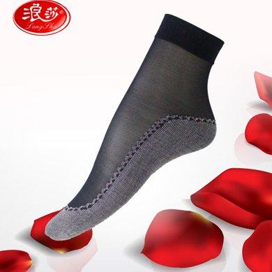 【3雙組合】浪莎女士包芯絲短筒棉底絲襪春夏薄款短襪子防滑吸濕水晶絲襪AX2645-1