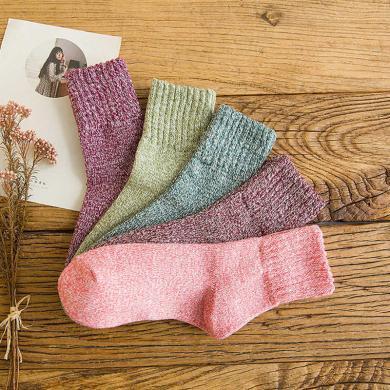 【五双装】俞兆林秋冬款袜子男女堆堆袜中筒袜加厚保暖毛圈袜地板袜情侣款 AK3005