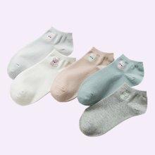 【5双混色装】俞兆林 马卡龙色船袜透气吸汗素色棉质小猫四季女袜 YZLAK2029