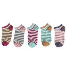 俞兆林 [5双混色装]春夏薄款森系条纹自由进线原宿风女士透气棉袜船袜 YZLGC001TH