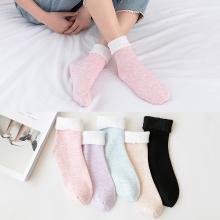 【五双装】库依娜新款秋冬女士加绒地板袜中筒棉袜龙爪毛雪地袜保暖地板袜居家袜子