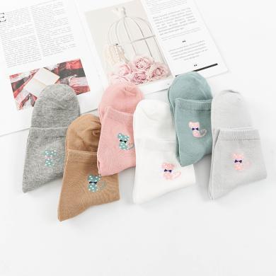 【五雙裝】庫依娜春季新款女士中筒襪子女可愛田園領結貓咪中筒襪女 AK2063
