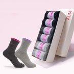 6雙裝AUN銀抗菌秋冬季純棉女襪中筒防臭襪女商務女士吸汗運動棉襪四季