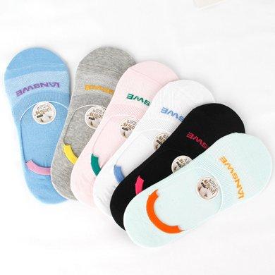 【6雙組合裝】浪莎襪子女士春夏淺口隱形船襪全棉襪子薄款低幫女生可愛短襪MF4340系列