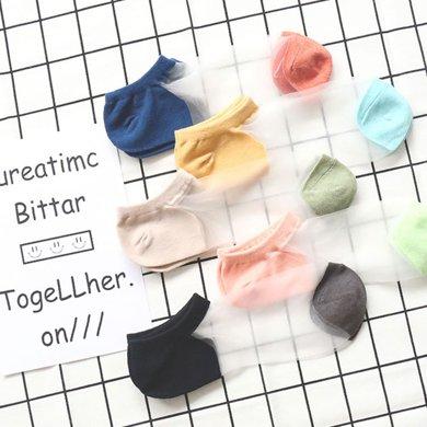 【5雙裝】DAIYI戴奕襪子  女式糖果色淺口船襪 透氣吸汗水晶絲襪