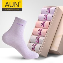AUN中筒纯色棉袜女防臭袜吸汗运动袜子素色袜子女四季袜薄款