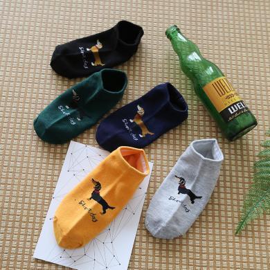 【5雙裝】修允菲2019夏季新款薄款低幫淺口小狗船襪運動學院風男士短襪D06