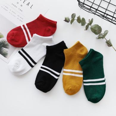 【5雙裝】修允菲新款襪子船襪女原宿風學院風短筒襪女短襪女二杠學生運動襪D10