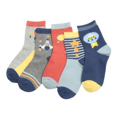 紅豆 兒童襪子19秋冬新款男童卡通汽車宇宙系列中大童棉中筒襪 襪子 襪子 童襪 童襪H9W711