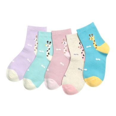 红豆 19秋冬新款儿童袜女童可爱动物拼接色A类中大童棉质中筒袜 袜子 袜子 童袜 童袜H9W710