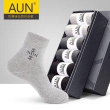 6雙裝AUN抗菌防臭襪子男士純色中厚春夏款男襪中筒襪棉襪商務運動襪子男四季