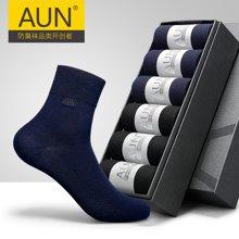 AUN銀抗菌防臭四季男襪商務襪 薄款純棉襪子男士四季中筒棉襪