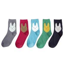 【五条装】俞兆林新款女士大兔子图案中筒袜 清新女袜