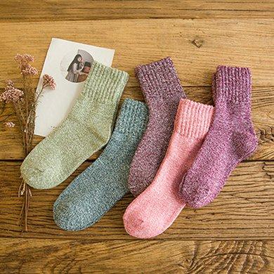 【五雙裝】庫依娜新款秋冬款襪子男士女士情侶中筒襪加厚保暖毛圈襪地板襪AK3005