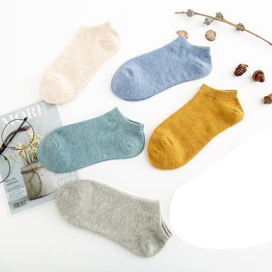 【五條裝】俞兆林春夏新款女士五色無雙裝船襪1棉透氣耐磨糖果色棉襪船襪女式船襪襪子夏季襪子 YZL420850