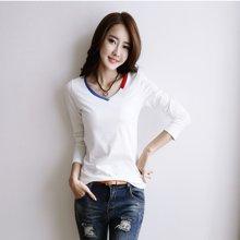植木直V领白色长袖t恤女装棉简约修身韩版上衣纯色打底衫.J1609027