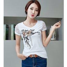 亿族 2018夏季新款韩版修身印花钉珠大码女装短袖T恤
