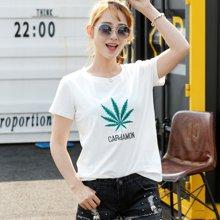 亿族 夏季新款韩版宽松棉绣花刺绣女短袖T恤