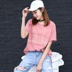 亿族 夏季新款韩版百搭宽松短袖贴布字母图案女T恤