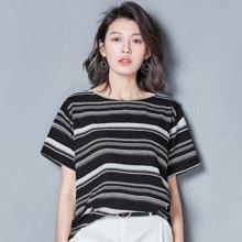 OUBOGJ 新款韩版t恤百搭短袖拼色体恤圆领休闲宽松上衣女夏B13520