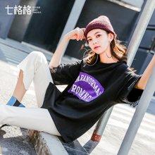 新品 七格格 蕾丝字母宽松T恤2018春季新款韩版原宿风学生打底短袖中长上衣女