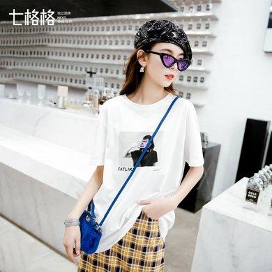 新品 七格格 白色短袖t恤女夏裝2019新款韓版百搭印花圖案寬松ins潮上衣