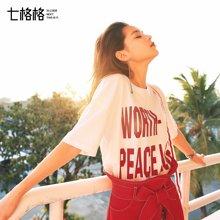 新品 七格格 夏装白色T恤女短袖2018新款韩范字母印花学生宽松ulzzang百搭上衣