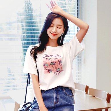 韓都衣舍2019夏裝新款女裝韓版寬松印花ins學生短袖T恤DL10142綪