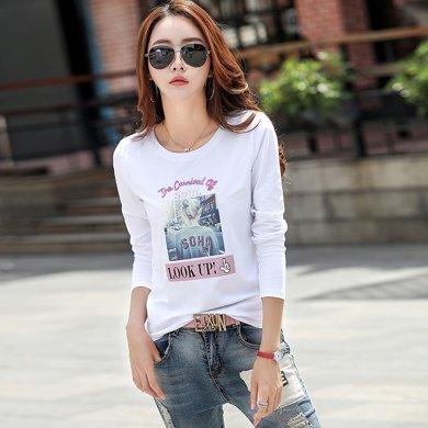 搭歌 秋新款女裝上衣韓版刺繡修身棉質長袖T恤打底衫 3002