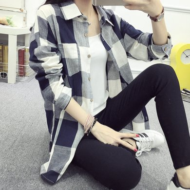 搭歌2019秋季款黑白格子襯衫女中長款百搭韓版長袖女裝外套2555