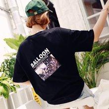 韩都衣舍2018韩版女装夏装新款学生宽松印花打底短袖T恤AA13524玎