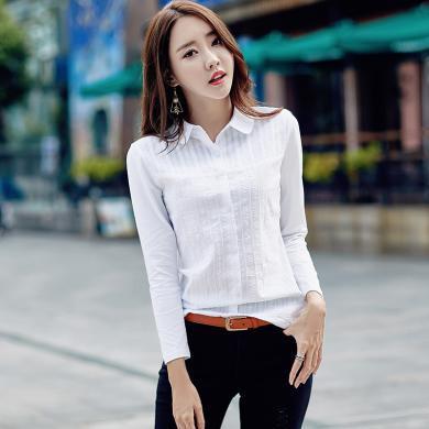 搭歌2019秋季新款女装长袖衬衫女打底衫女士T恤正装J6028
