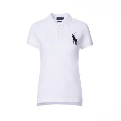 [支持購物卡]美國正品 POLO Ralph Lauren 拉夫勞倫女裝夏季短袖經典大馬標POLO衫白色