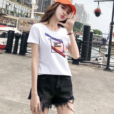 搭歌短袖t恤女2019新款夏季女裝韓版印花ins體恤衫亮片上衣J5103