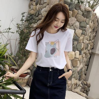 搭歌2019夏季新款韓版女裝寬松圓領印花短袖T恤女上衣J5068