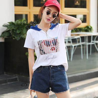 搭歌2019夏季新款女裝印花短袖T恤韓版連帽衛衣大碼寬松J5111