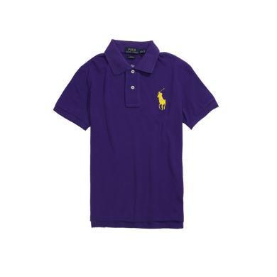 【支持購物卡】美國正品POLO Ralph Lauren拉夫勞倫經典女款大馬標純棉翻領修身短袖Polo衫紫色