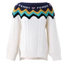 [支持购物卡]FENDI/?#19994;?女?#23433;?#28010;纹拼接HEART BEAT针织衫 FZY663