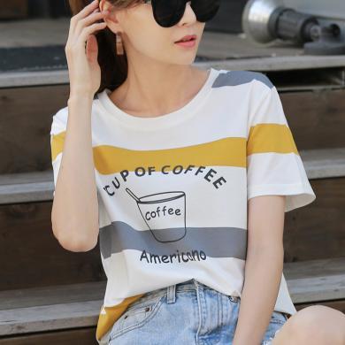 短袖t恤女白色寬松半袖上衣服大碼韓版潮2019夏裝新款9323