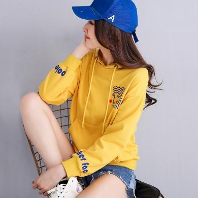 搭歌2019秋裝新款韓版女裝連帽衛衣女印花長袖t恤女潮 J9006