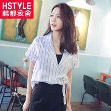 韩都衣舍2018新款女装夏装韩版宽松显瘦系带短袖条纹衬衫GD7077聖