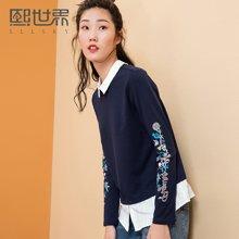 熙世界韩版长袖衬衫女2018春装新款假两件POLO领印花103LC294