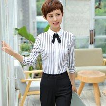 亿族 春秋装新款竖条纹修身长袖衬衫女士休闲职业装衬衣